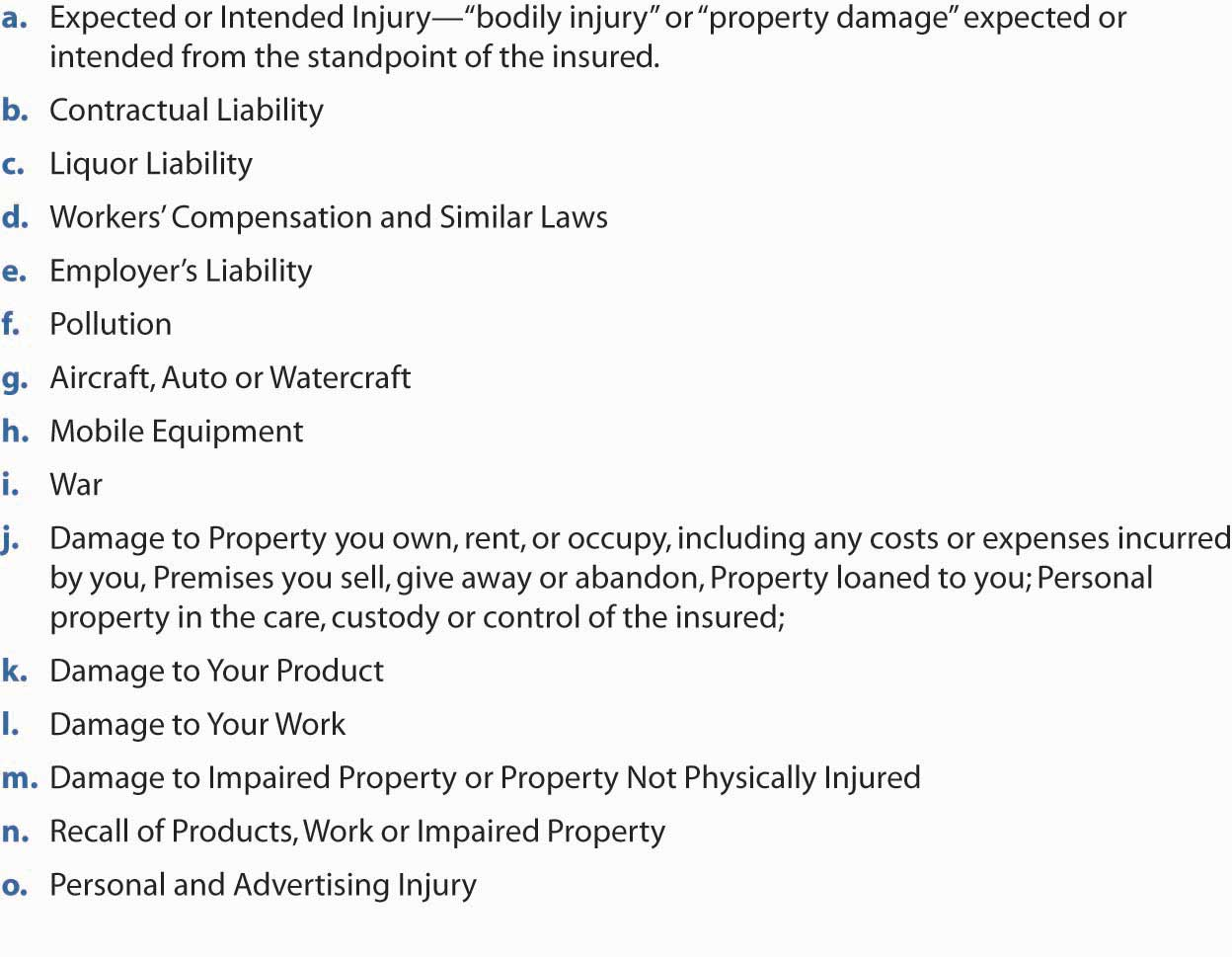 Business Personal Property Exclusions