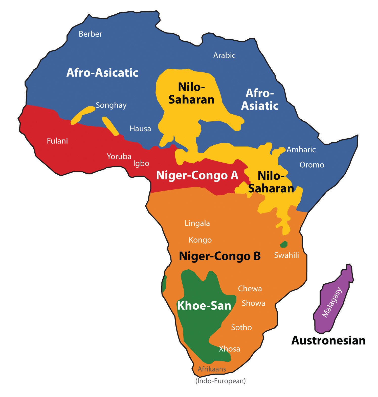 language of africa map