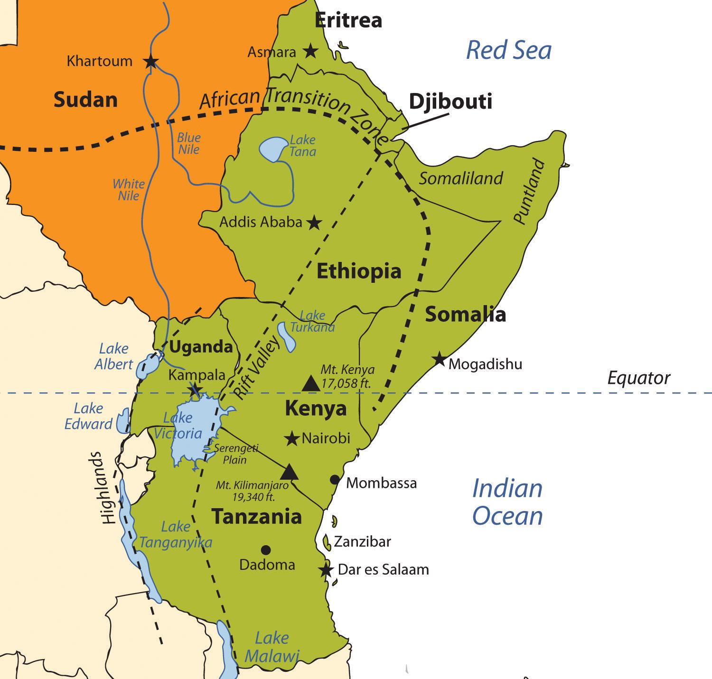 a geography of kenya The perimeter of kenya's international land borders is 3,446 km, including borders with sudan (306 km), ethiopia (779 km), somalia (682 km), tanzania (769 km), and uganda (772 km.