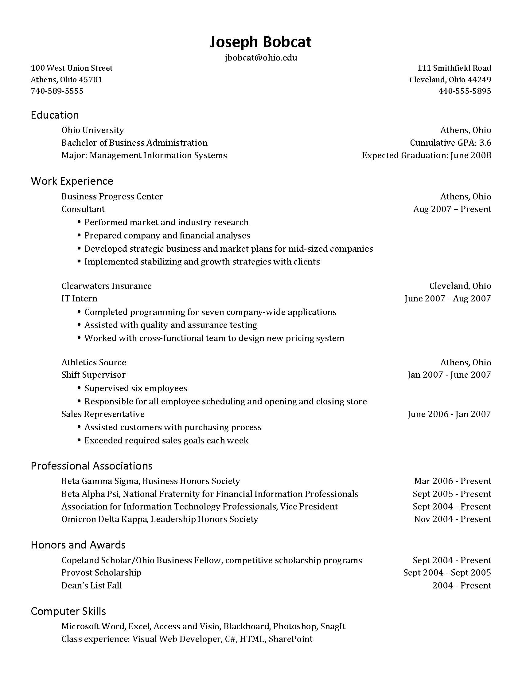 Submission of resume