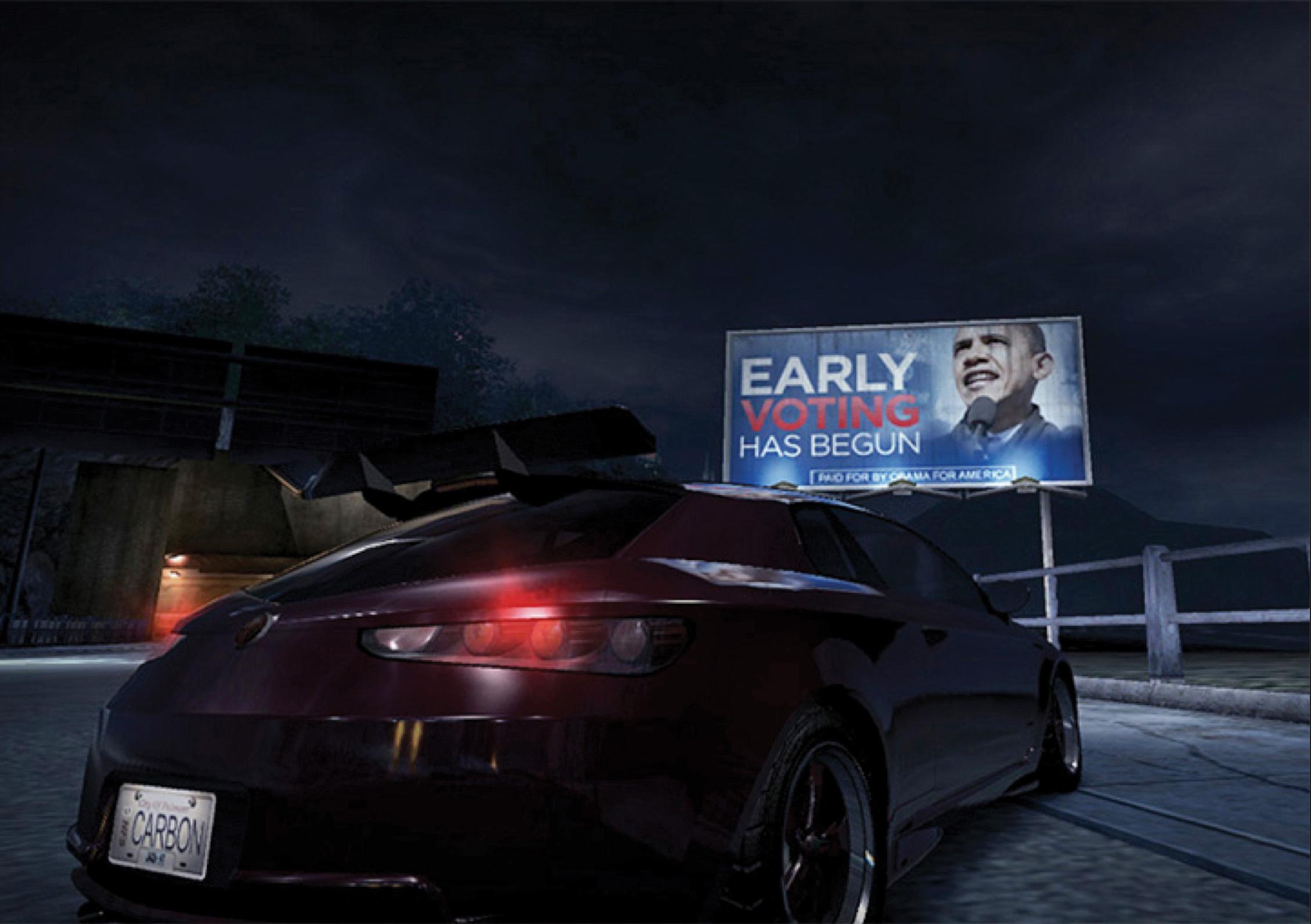 Bilboard wyborczy Baracka Obamy w grze Burnout Paradise (EA Electronics)