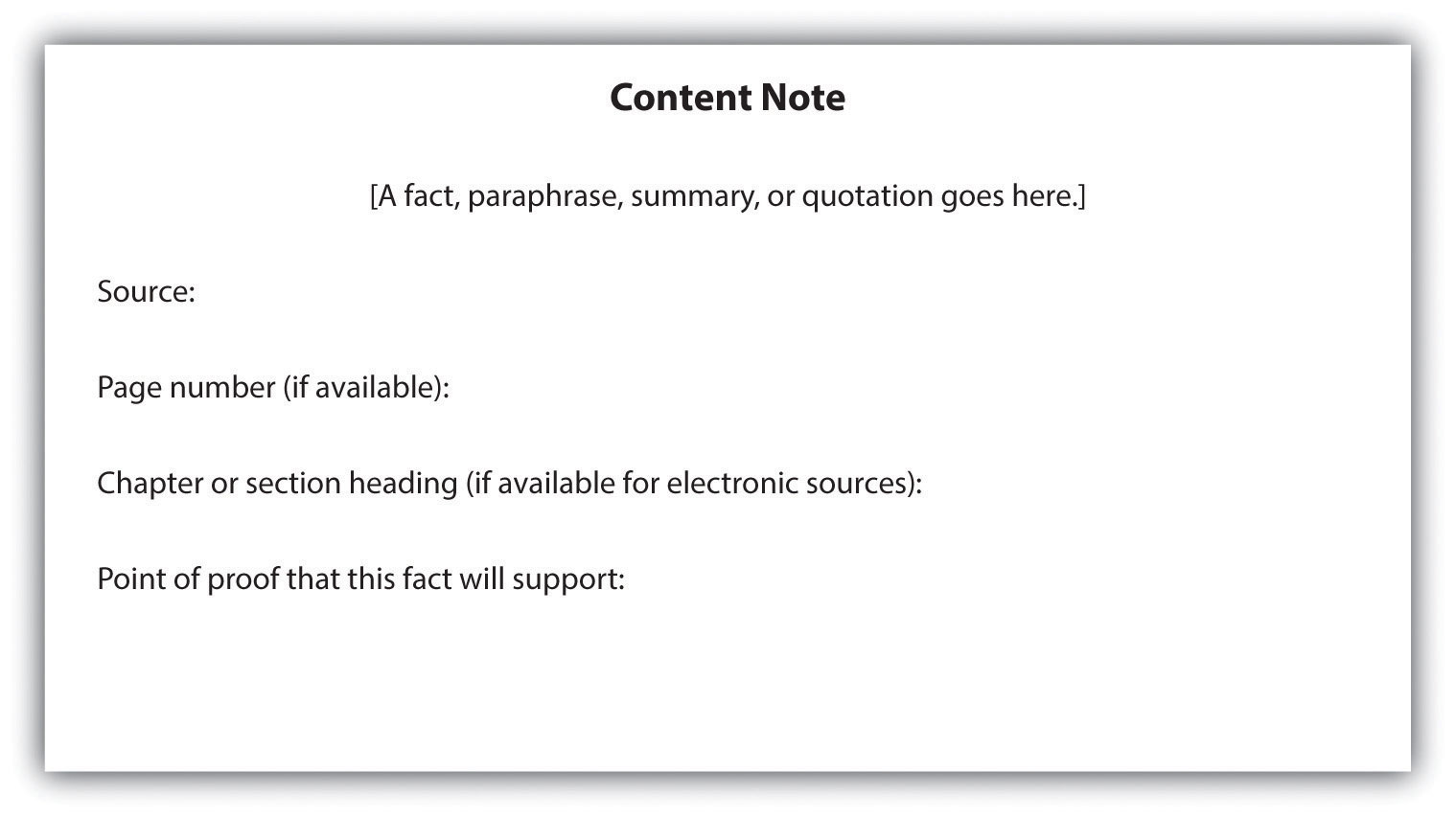 what s your point flatworld figure 10 3 a sample index card for recording facts paraphrases summaries and quotations