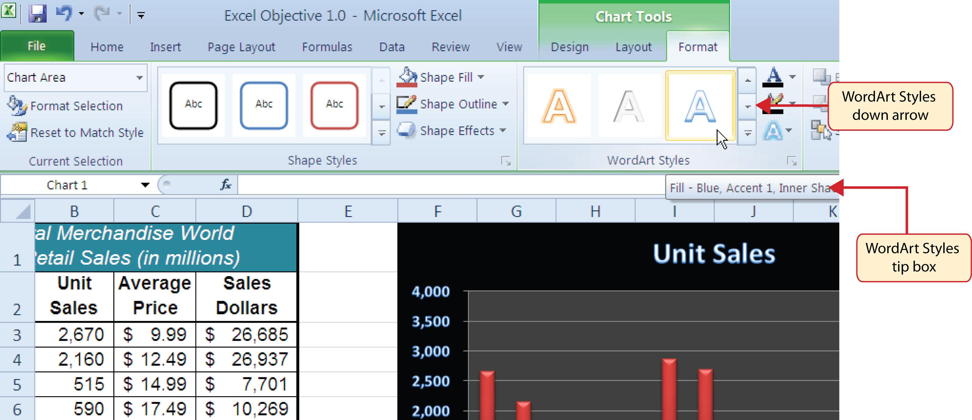 Figure 154 WordArt Styles In The Format Tab