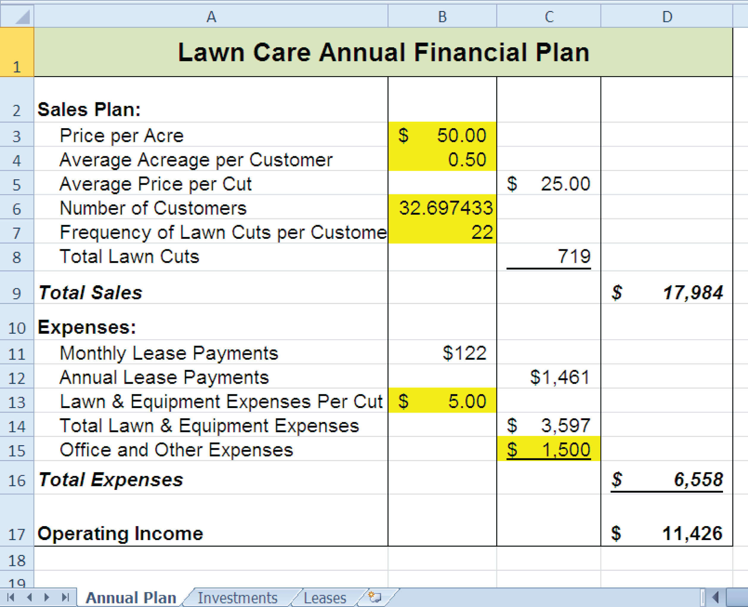 Results Of The Pmt Function In The Car Lease Payments Worksheet