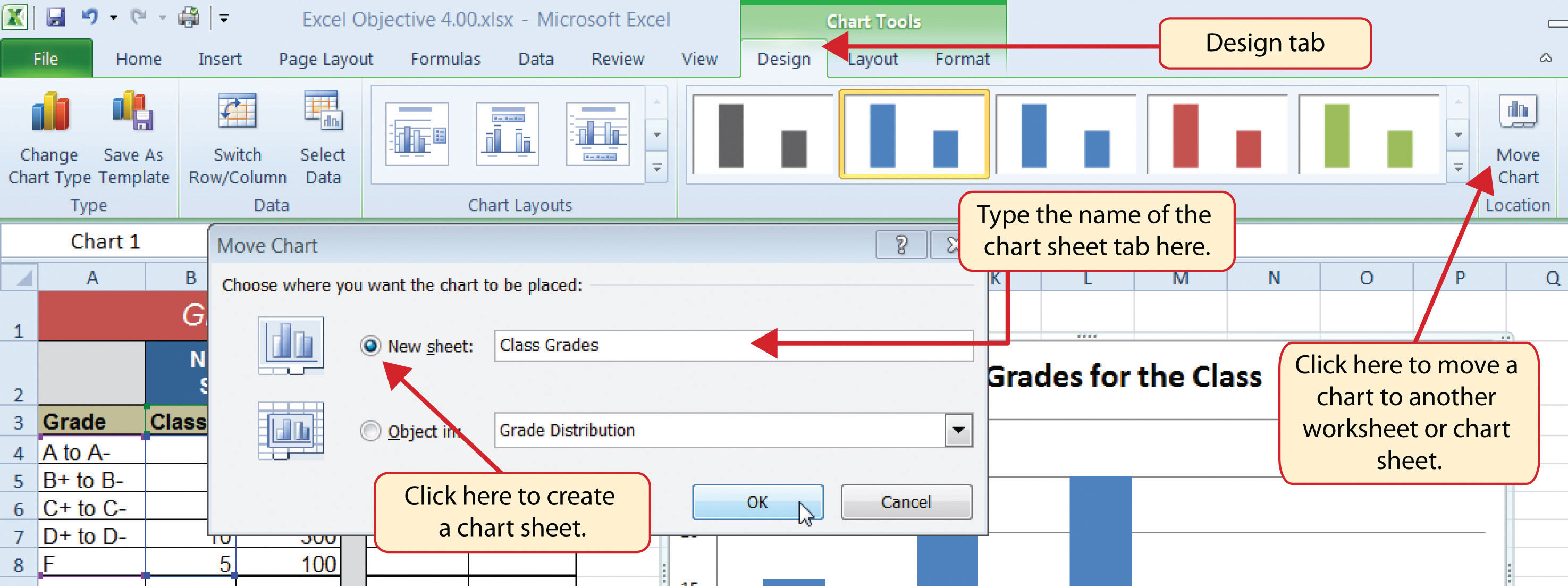 Change color of lines in excel graph - Figure 4 11 Moving A Chart To A Chart Sheet