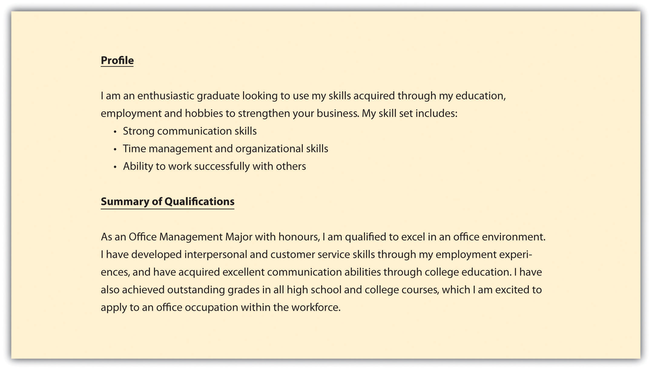 profile for a resumes