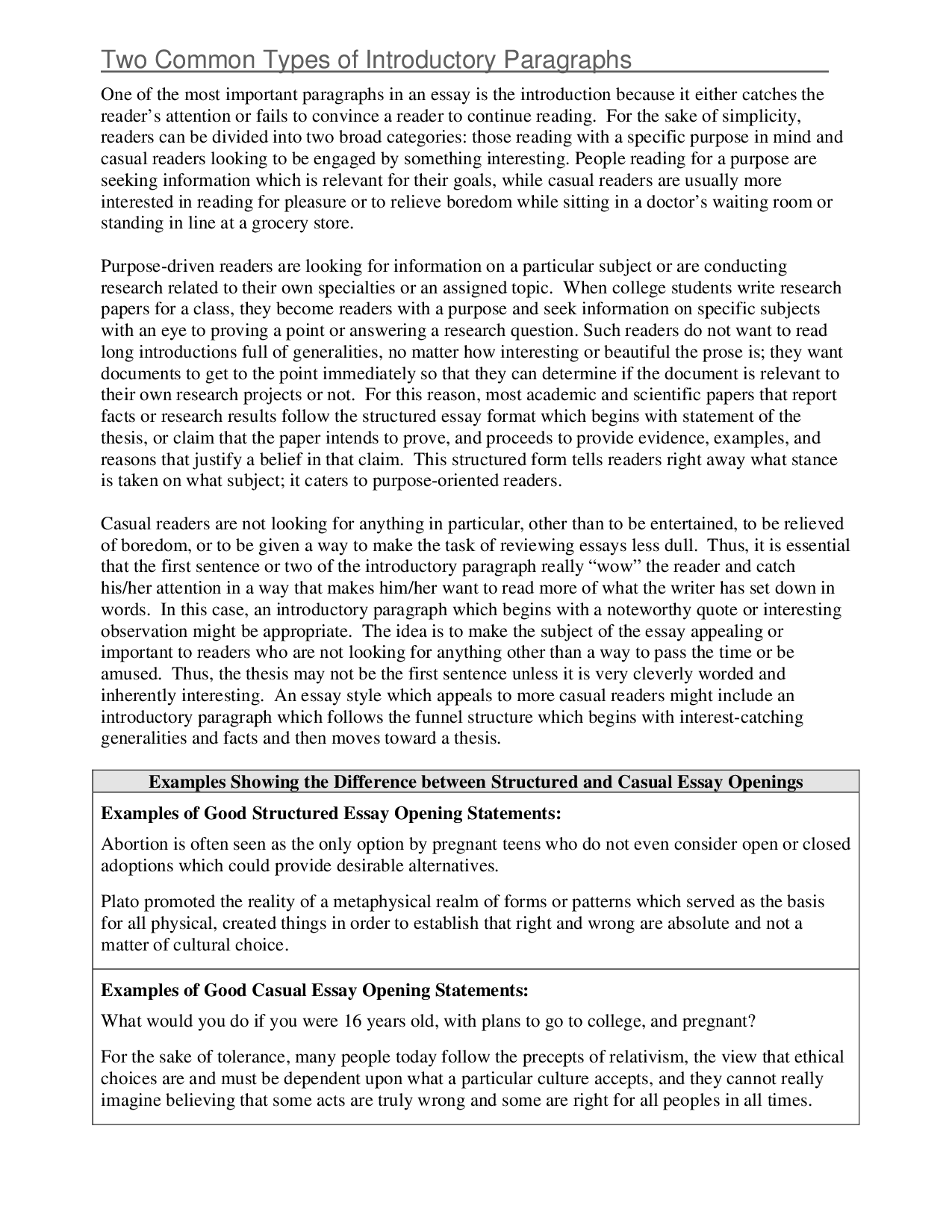 thesis statement essay examples