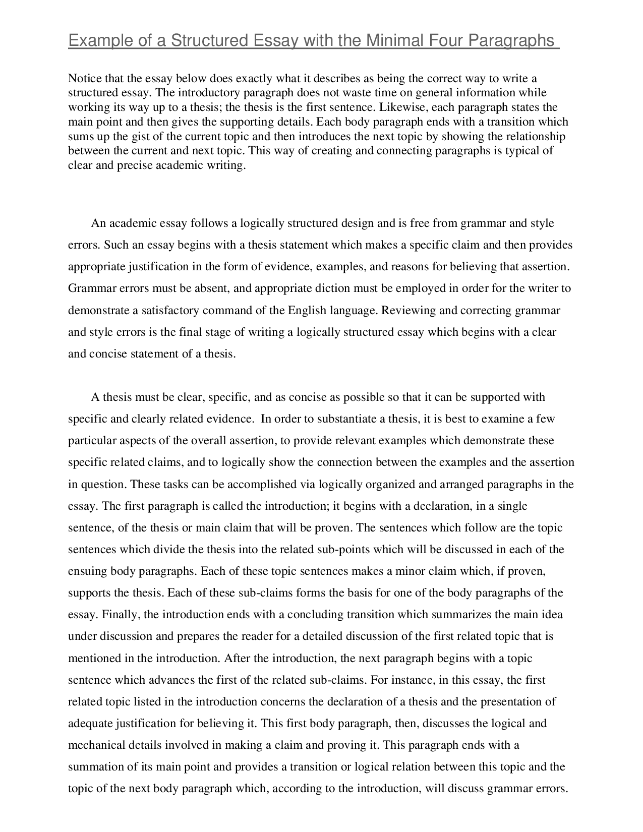 introduction paragraph to essay The purpose of this section of the essay is to defend the thesis statement, so the content in these paragraphs must be tip-top first of all, each body paragraph must start out with a topic sentence create a smooth transition from your intro by creating a topic sentence that links the thesis to your first main point.
