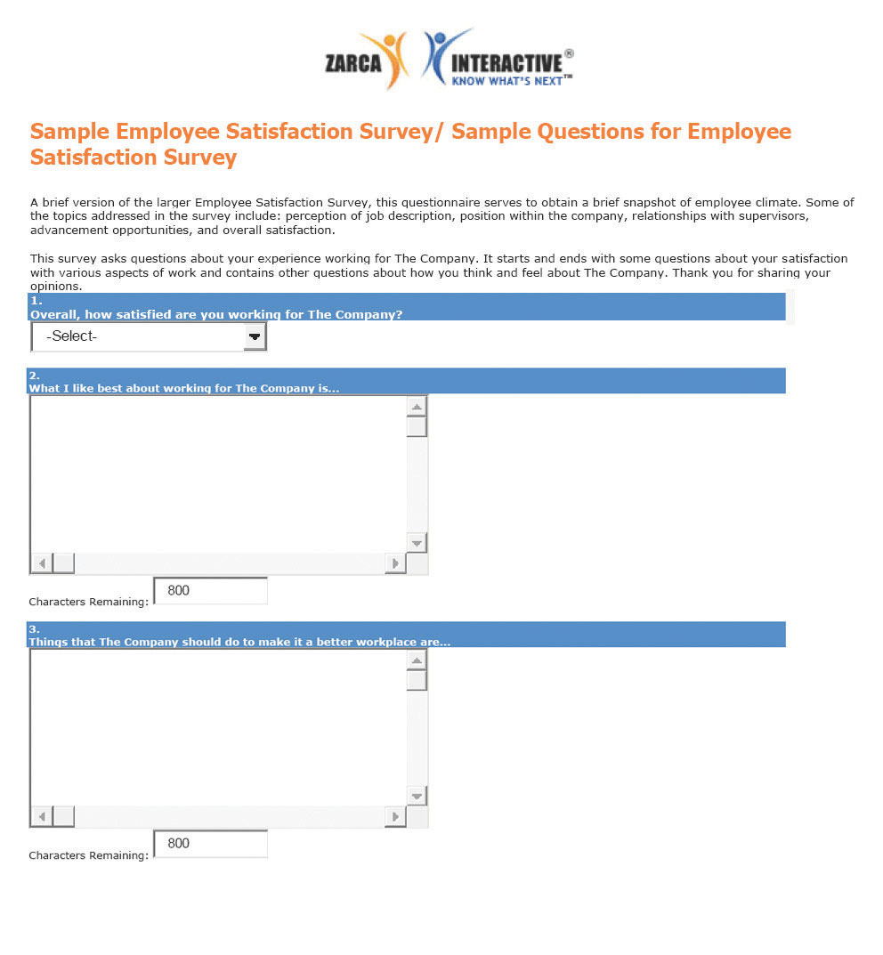 questionnaire for employee satisfaction