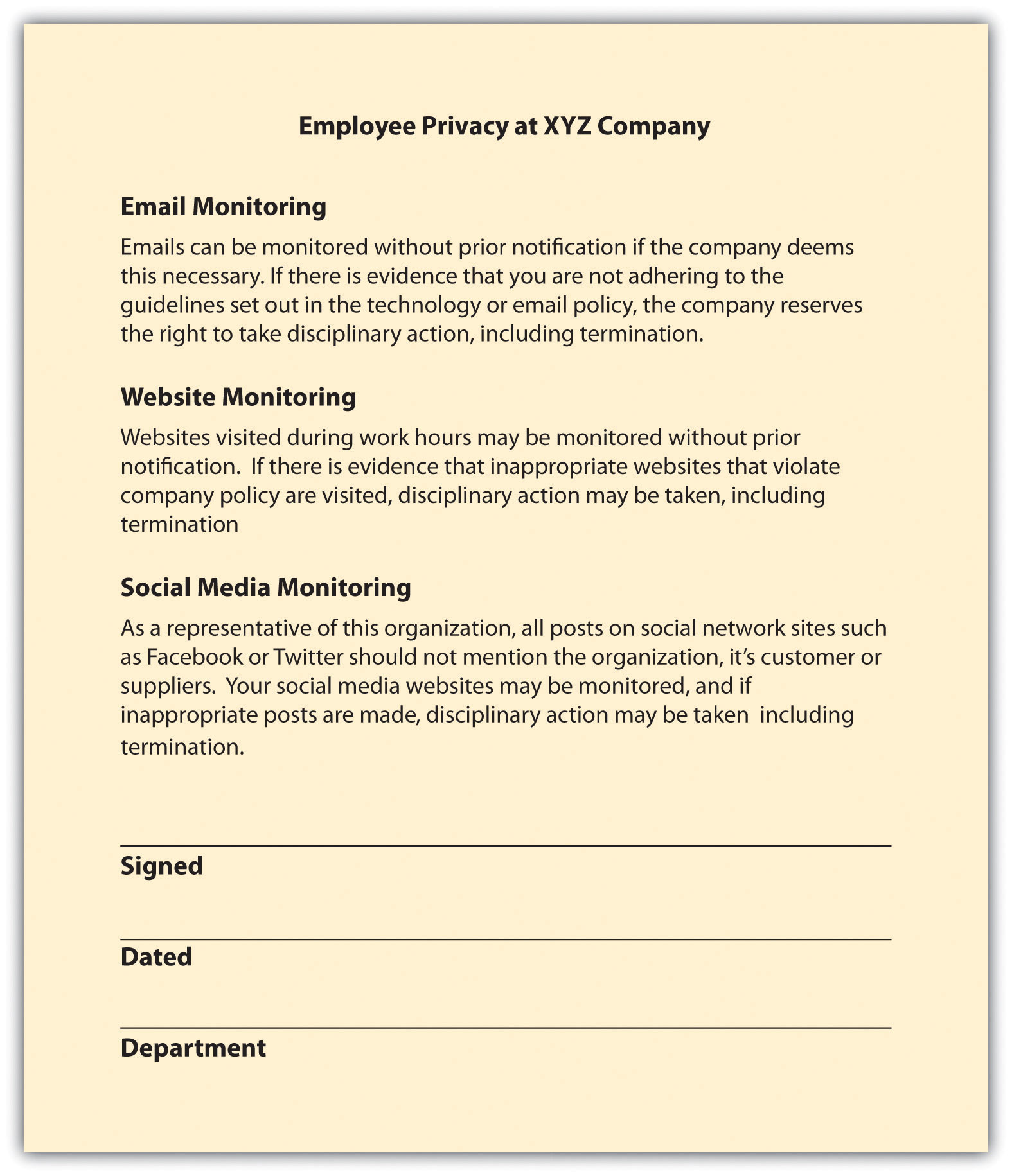 company email policy template - human resource management 1 0 flatworld