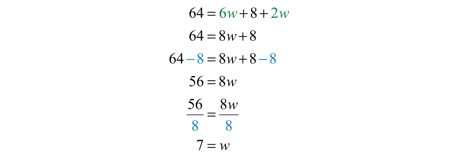 Once You Have Set Up An Algebraic Equation With One Variable, Solve For The  Width, W