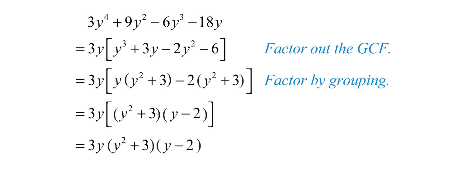 Solution: Here We Notice That The Greatestmon Factor Of All The Terms  Is 3y Begin By Factoring Out The Gcf And Then Factor The Result By  Grouping
