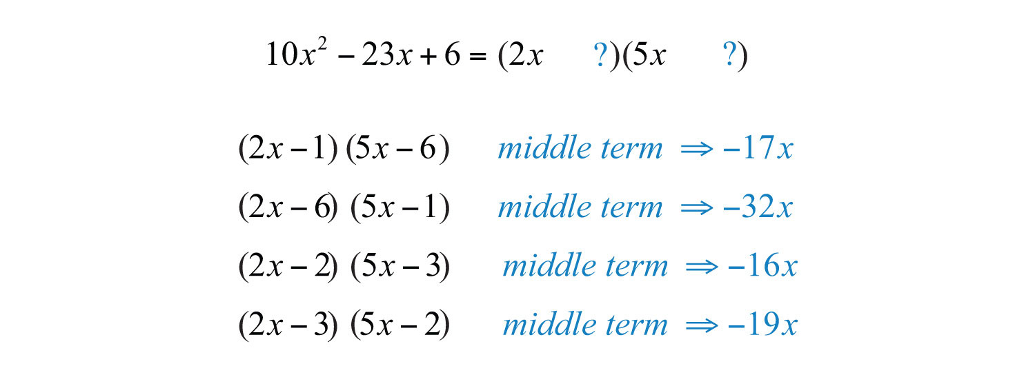 There Is Nobination That Produces A Middle Term Of ˆ�23x We Then Move  On To The Factors Of 10x2=10x⋅x And List All Possiblebinations: