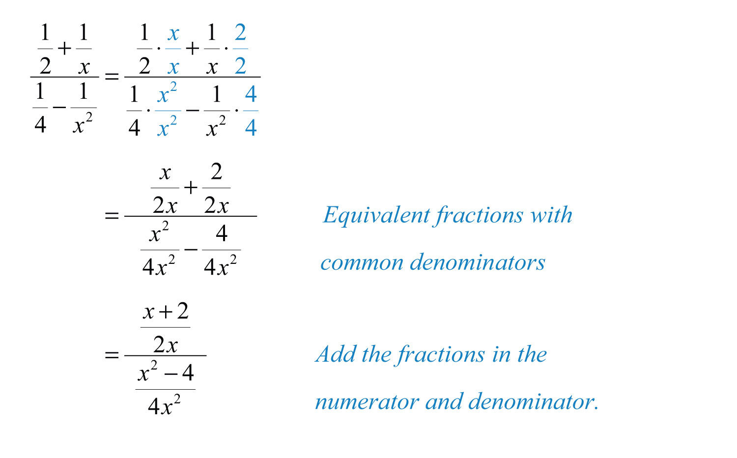 In This Example, Find Equivalent Terms With Amon Denominator In Both  The Numerator And Denominator Before Adding And Subtracting