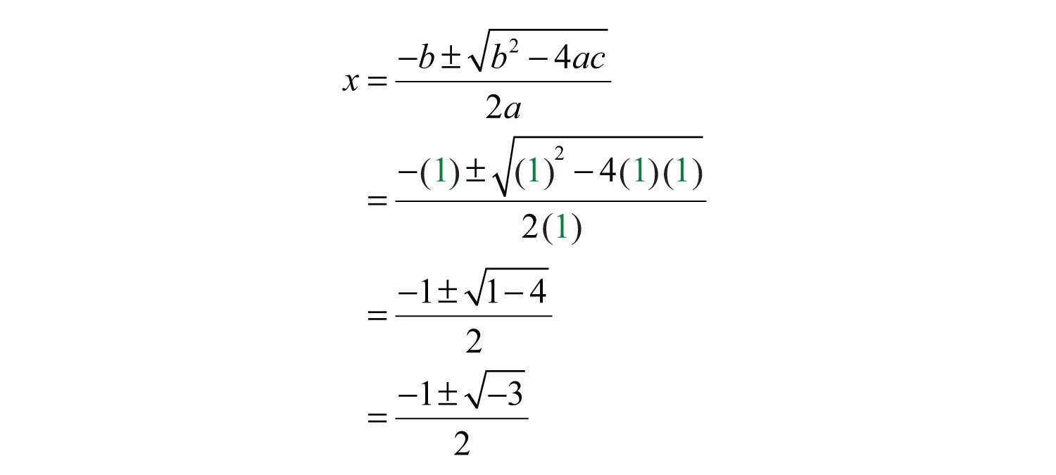 Formula The Solution Involves The Square Root Of A Negative Number;  Hence The Solutions Are Not Real This Quadratic Equation Has Two Nonreal  Solutions