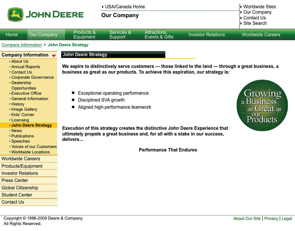 Mission Statement of Deere and Company