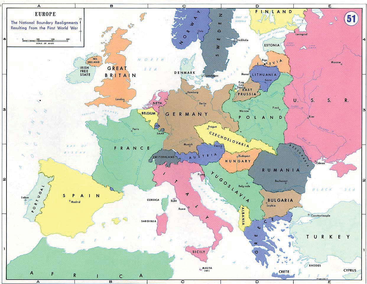 A map of Europe showing the