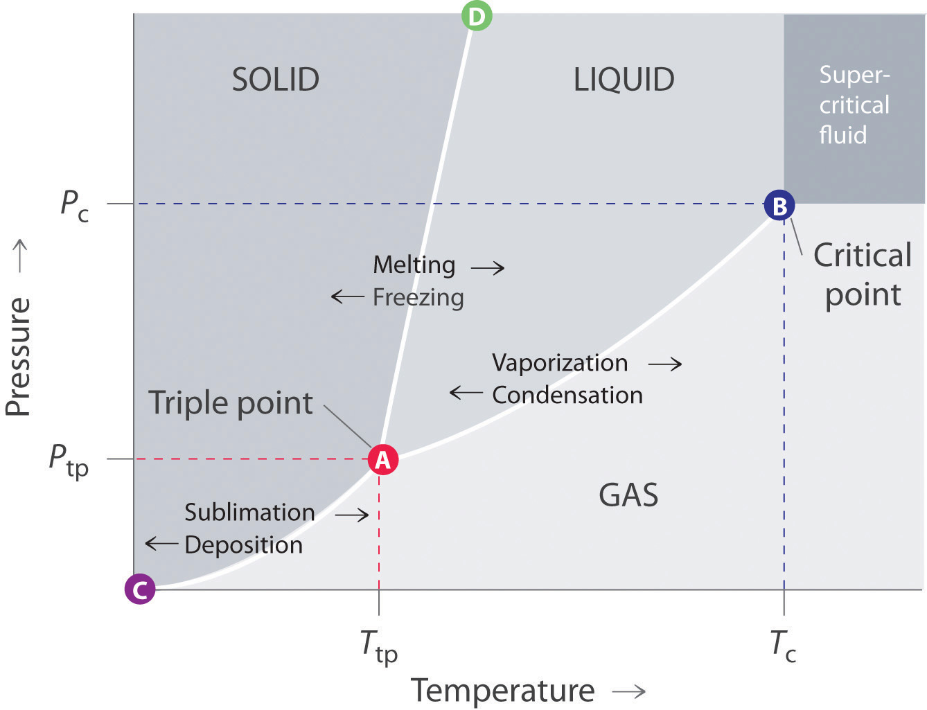 General chemistry principles patterns and applications 10 figure 1122 a typical phase diagram for a substance that exhibits three phasessolid liquid and gasand a supercritical region pooptronica