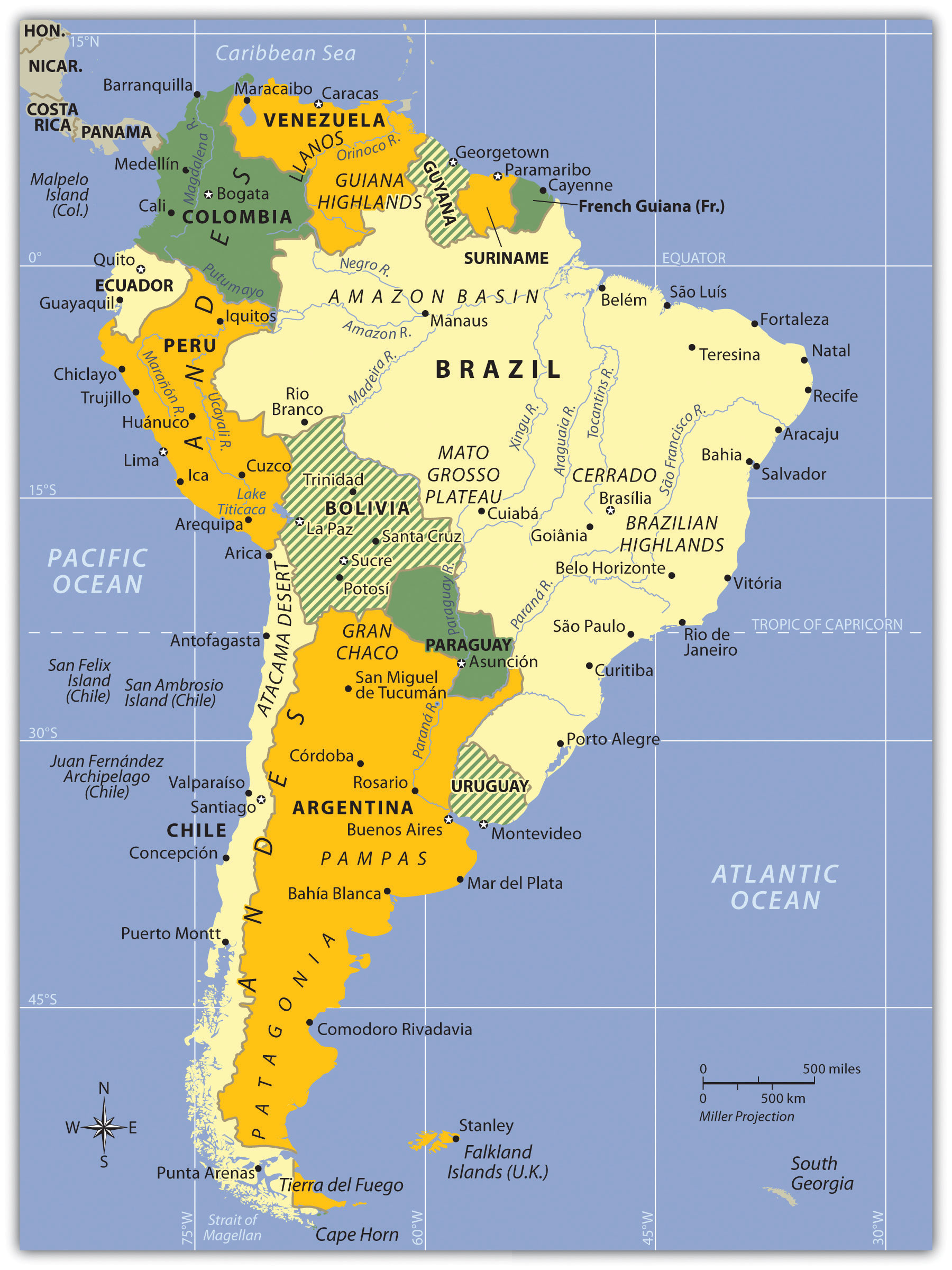 World regional geography people places and globalization 10 figure 61 south america political map of the countries and various physical regions gumiabroncs Images