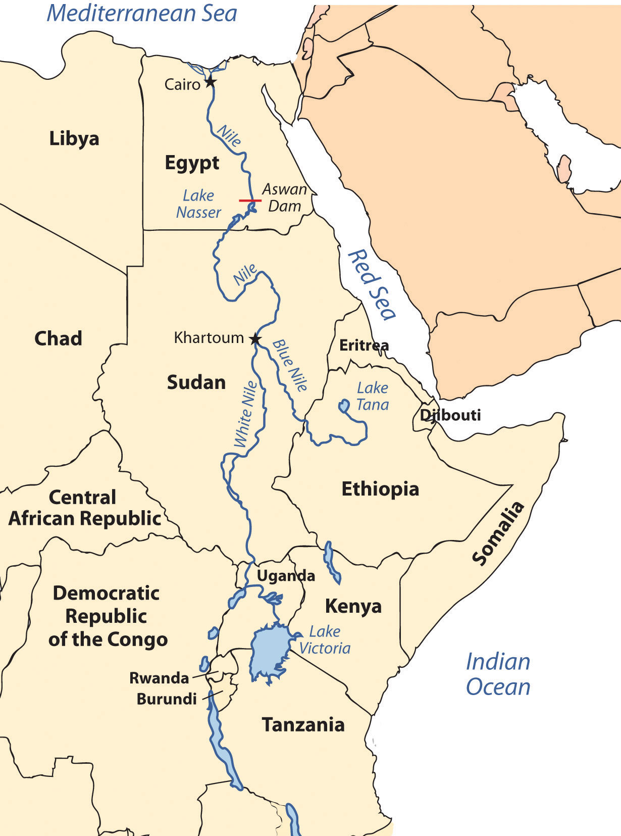 white nile river africa map