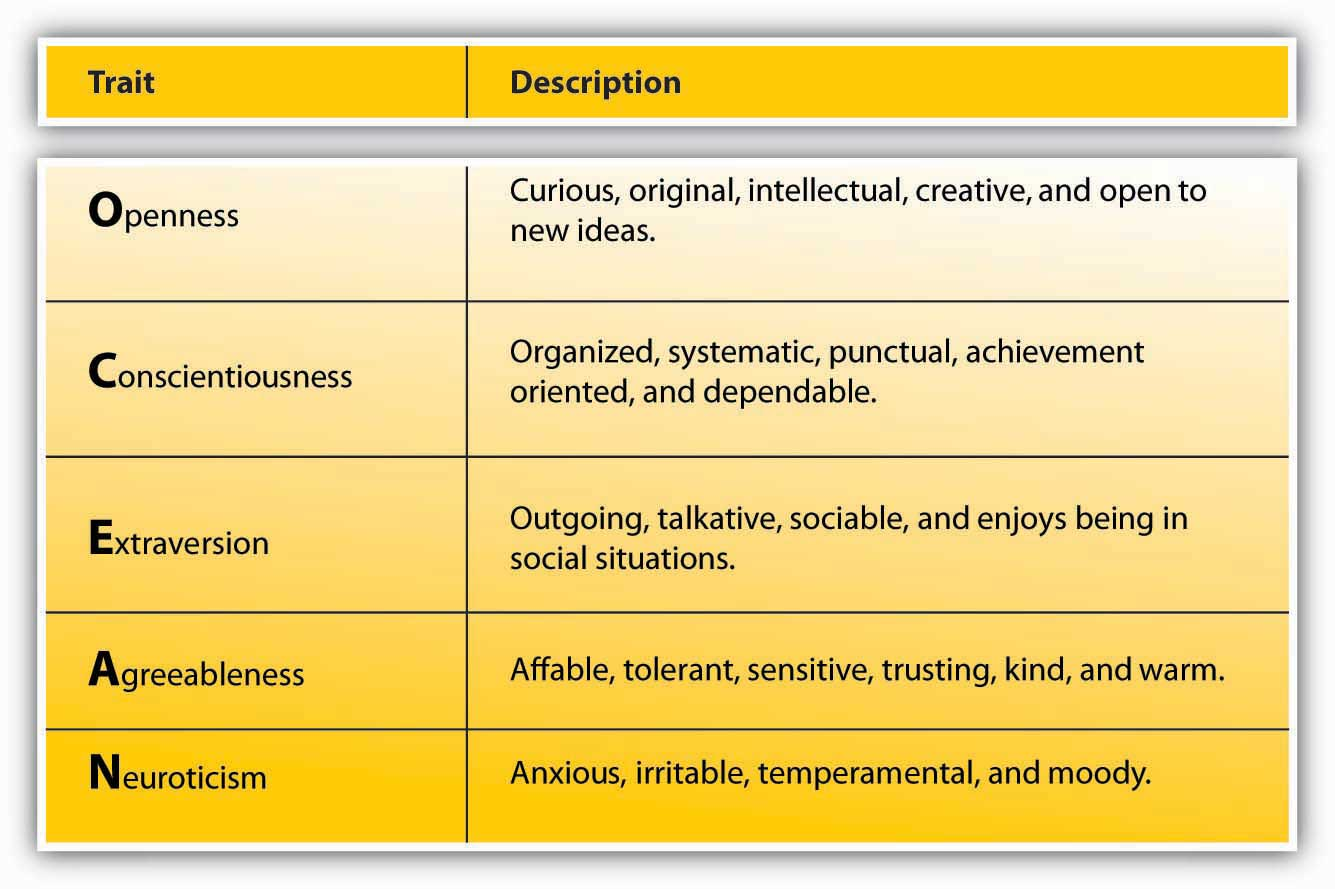 the big five personality traits the five factor model essay The five-factor model: critics) that personality traits fourth level are the five broad constructs-the big five-generated by.