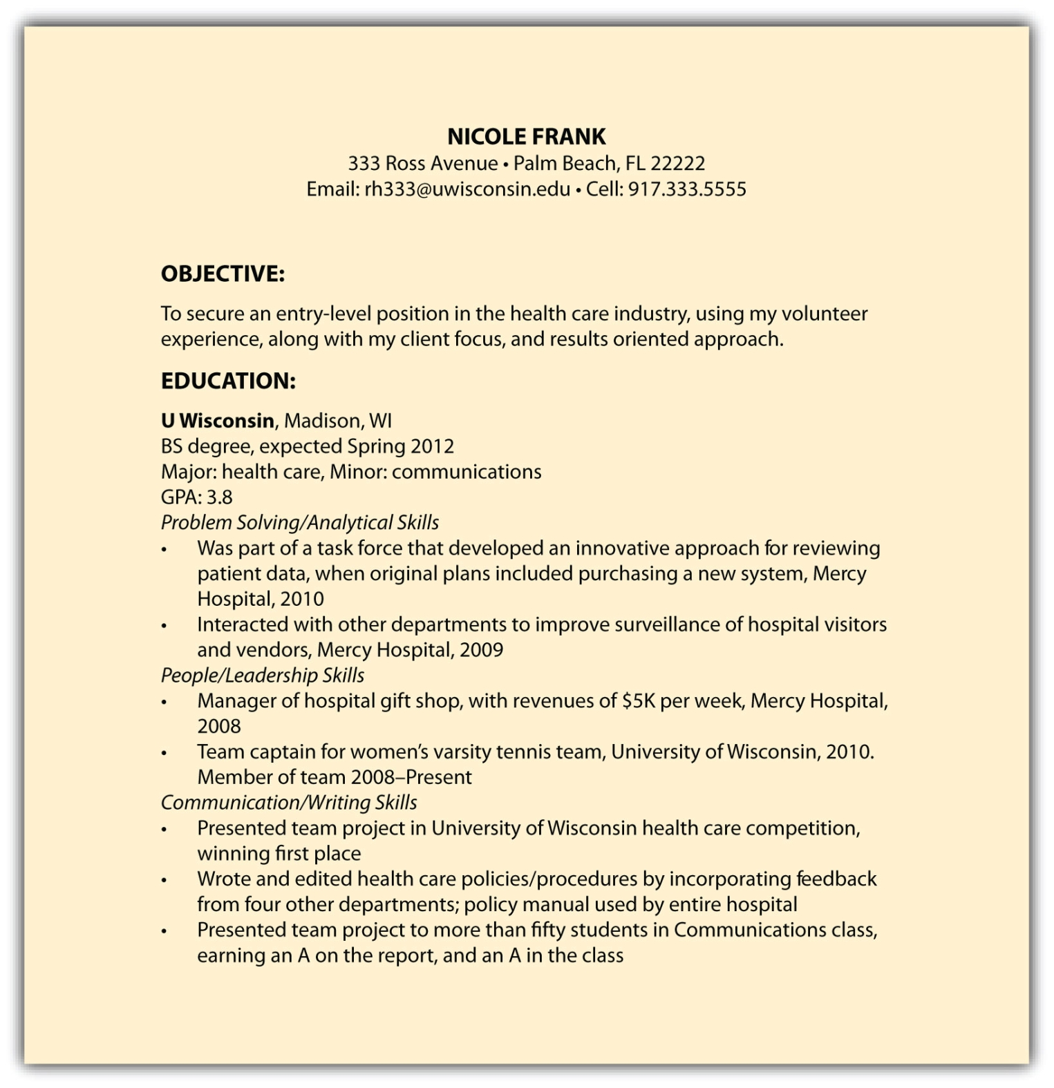 Functional Résumés  Example Of A Functional Resume