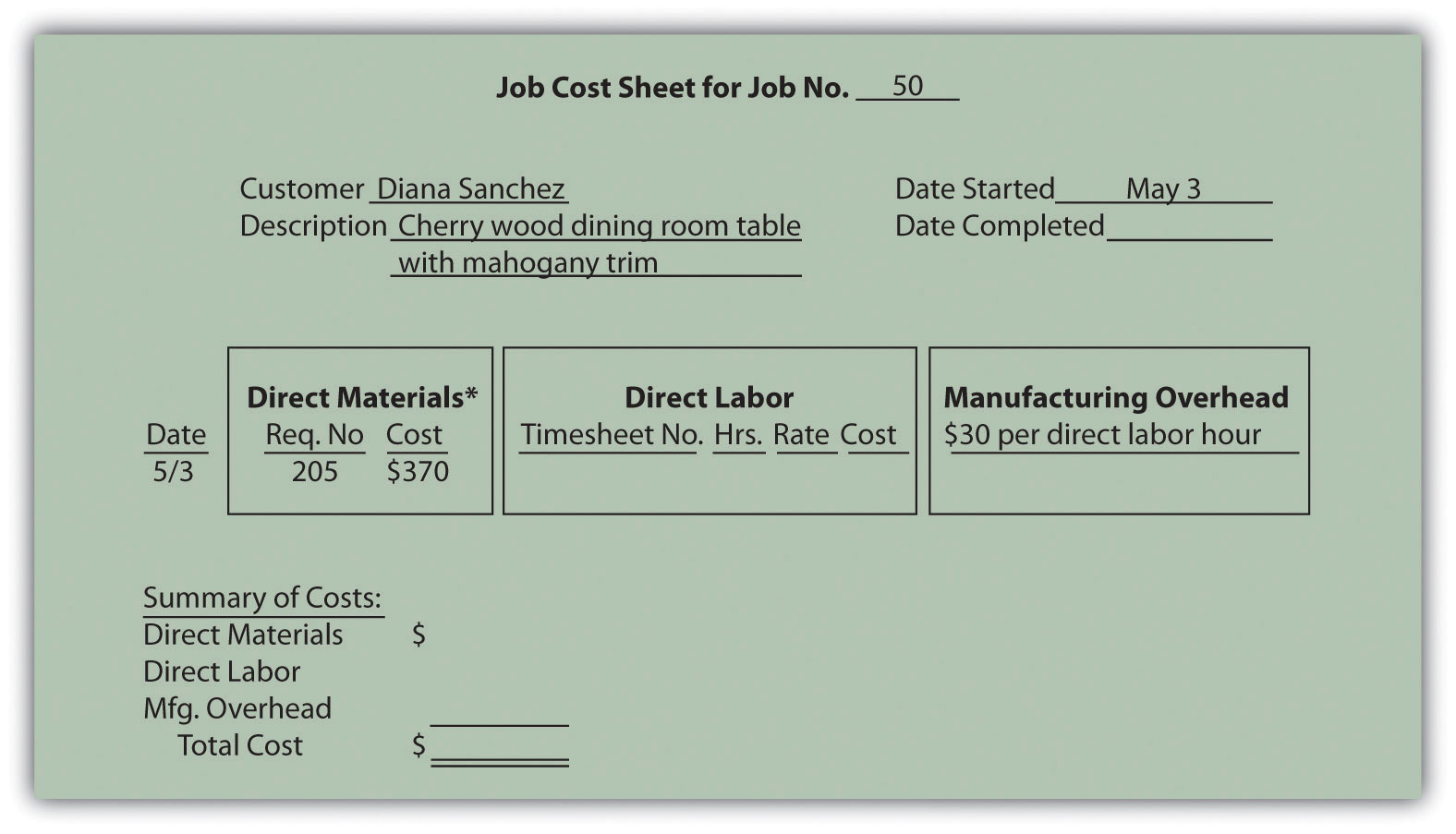 job costing template excel