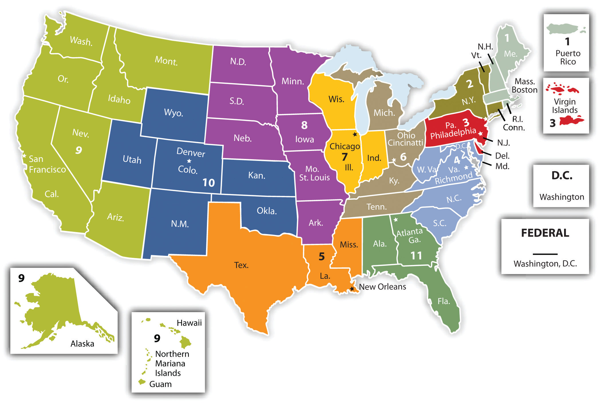The Legal And Ethical Environment Of American Business - Us federal courts map
