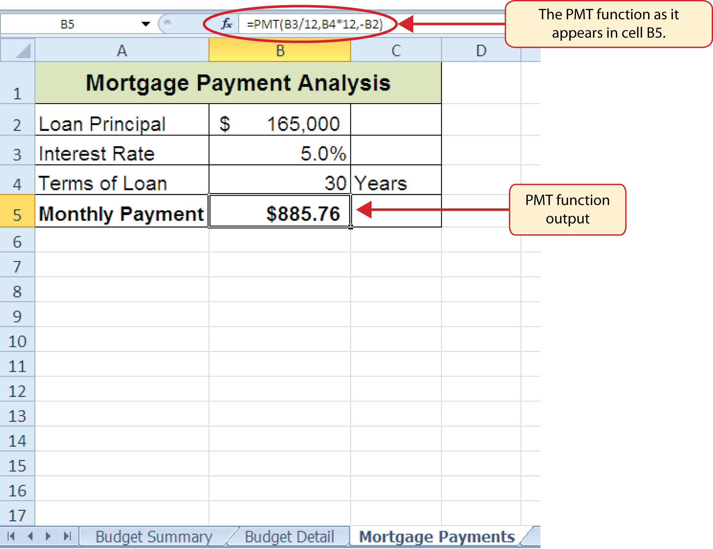 How to Use Microsoft174 Excel174 The Careers in Practice – Mortgage Worksheet