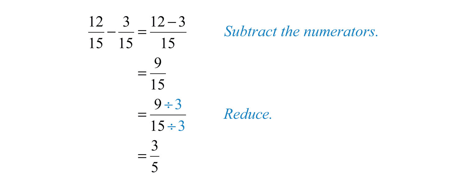 worksheet Subtracting Fractions From Whole Numbers elementary algebra 1 0 4 flatworld solution the two fractions have a common denominator 15 therefore subtract numerators and write result over denominator