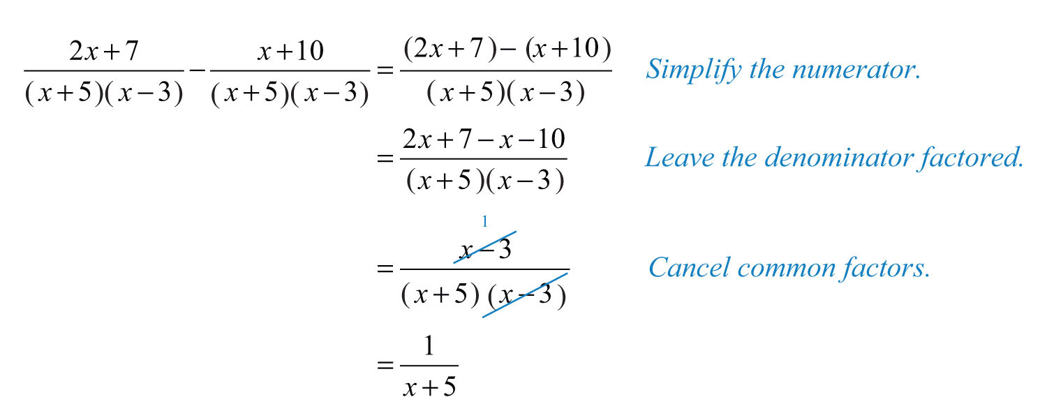Elementary Algebra 10 – Operations with Rational Expressions Worksheet
